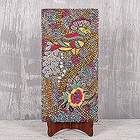 'Chidya Rani' - Signed Bird-Themed Beaded Painting on Stand from India