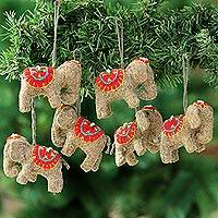Wool felt ornaments, 'Cute Elephants' (set of 6) - Wool Felt Elephant Ornaments from India (Set of 6)
