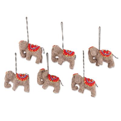Wool felt ornaments, 'Cute Elephants' (set of 6) - Wool Felt Elephant Ornaments from India (Set of 6)