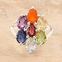 Multi-gemstone cocktail ring, 'Chakra Glitter' - Multi-Gemstone Chakra Cocktail Ring from India
