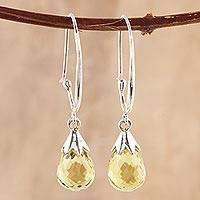 Quartz dangle earrings, 'Glittering Dew' - 10-Carat Lemon Quartz Dangle Earrings from India