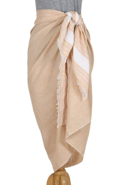 Cotton sarong, 'Stylish Stripes in Buff' - Handwoven Cotton Sarong in Buff from India
