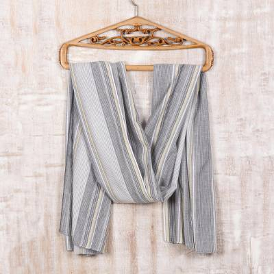 Cotton shawl, 'Graceful Stripes' - Striped Cotton Shawl Crafted by Indian Artisans