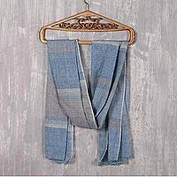 Cotton shawl, 'Classic Stripes' - Azure and Smoke Cotton Shawl Crafted in India