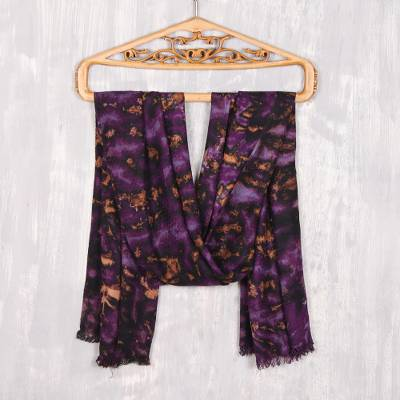 Viscose shawl, 'Blissful Fusion in Purple' - Purple and Caramel Viscose Shawl Crafted in India