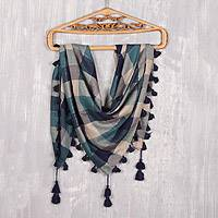 Viscose blend scarf, 'Delhi Charm' - Square Pattern Viscose Blend Shawl Crafted in India