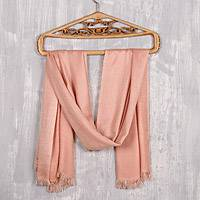 Viscose shawl, 'Glamorous Diamonds in Pink' - Peach and Blush Patterned Viscose Shawl from India