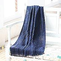 Viscose blend shawl, 'Indigo Shimmer' - Embellished Viscose Blend Shawl in Indigo from India
