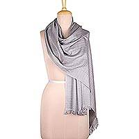 Viscose blend shawl, 'Gorgeous Grey' - Slate Grey Viscose Blend Shawl from India
