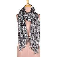 Viscose blend shawl, 'Slate Glam' - Sequin-Embellished Viscose Blend Shawl in Slate from India