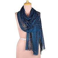 Viscose blend scarf, 'Azure Muse' - Embellished Viscose Blend Scarf in Azure from India