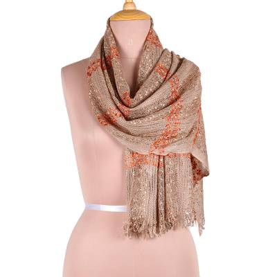 Viscose blend scarf, 'Taupe Glimmer' - Taupe and Tangerine Viscose Blend Scarf from India