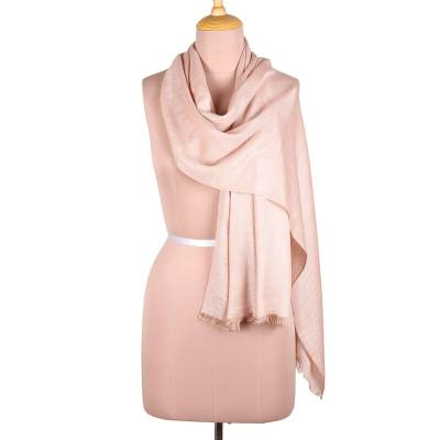 Viscose blend scarf, 'Bisque Passion' - Artisan Crafted Viscose Scarf in Bisque from India