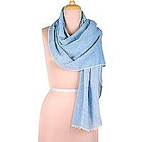 Cotton shawl, 'Graceful Glam in Azure' - Artisan Crafted Cotton Shawl in Azure from India