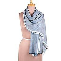 Viscose shawl, 'Cadet Blue Saga' - Azure Viscose Shawl with White Borders from India