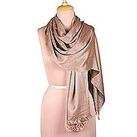 Viscose shawl, 'Glamorous Diamonds in Olive' - Diamond Pattern Viscose Shawl in Olive and Blush from India