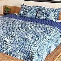 Cotton bedspread and pillow shams, 'Kantha Charm in Indigo' (3 piece) - Blue and White Cotton Kantha Bedspread and Shams (3 Piece)