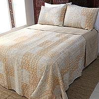 Cotton bedspread and pillow shams, 'Kantha Charm in Sunflower' (3 piece) - Yellow Indian Print Bedding Set with 2 Shams
