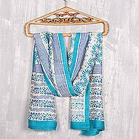 Block-printed silk scarf, 'Turquoise Bliss' - Floral Block-Printed Silk Scarf in Turquoise from India