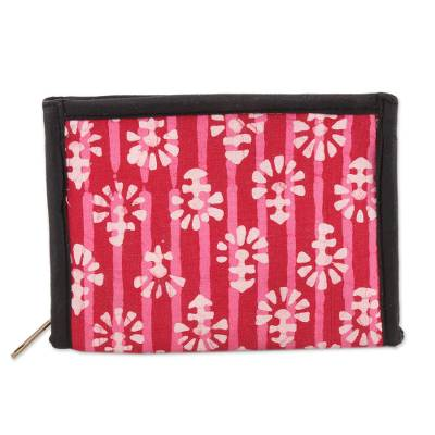 Crimson and Carnation Striped Batik Cotton Wallet from India