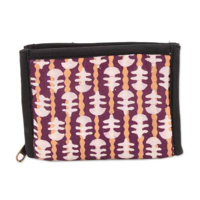 Eggplant and Straw Striped Batik Cotton Wallet from India