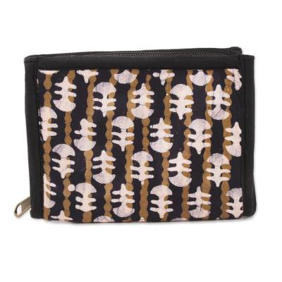 Black and Sand Striped Batik Cotton Wallet from India