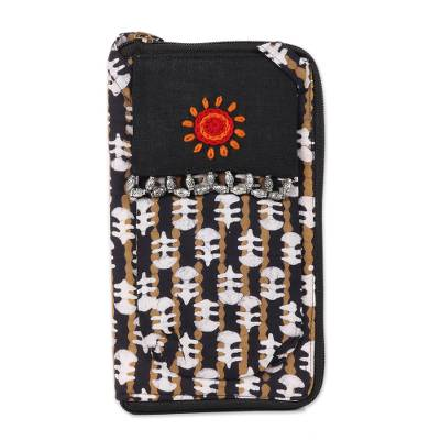 Black and Sand Striped Batik Cotton Cell Phone Bag