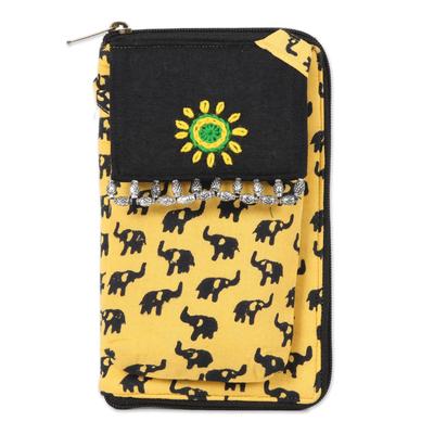 Batik Cotton Elephant Motif Cell Phone Bag in Maize