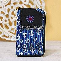 Batik cotton cell phone bag, 'Magnificent Flair in Blue' - Royal Blue and Turquoise Striped Batik Cotton Cell Phone Bag