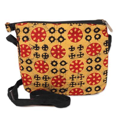 Block-Printed Batik Cotton Sling in Amber from India