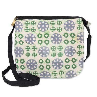 Block-Printed Batik Cotton Sling in White from India