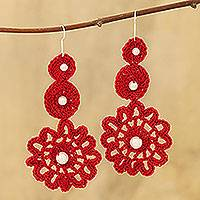Cotton dangle earrings, 'Floral Crochet in Crimson' - Crimson Floral Cotton Dangle Earrings Crafted in India
