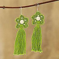 Crocheted cotton dangle earrings, 'Green Floral Tassel' - Cotton Crochet Green Flower Tassel Earrings from India
