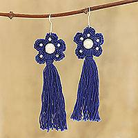 Crocheted cotton dangle earrings, 'Blue Floral Tassel' - Cotton Crochet Blue Flower Tassel Earrings from India