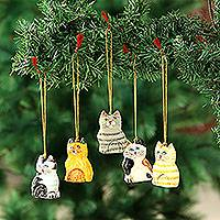 Papier mache ornaments, 'Cute Kitty Cats' (set of 5) - Set of 5 Handcrafted Papier Mache Cat Theme Ornaments