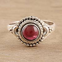 Garnet cocktail ring, 'Gemstone Moon' - Garnet and Sterling Silver Cocktail Ring from India