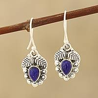 Lapis lazuli dangle earrings, 'Teardrop Leaves' - Leaf-Themed Lapis Lazuli Dangle Earrings from india
