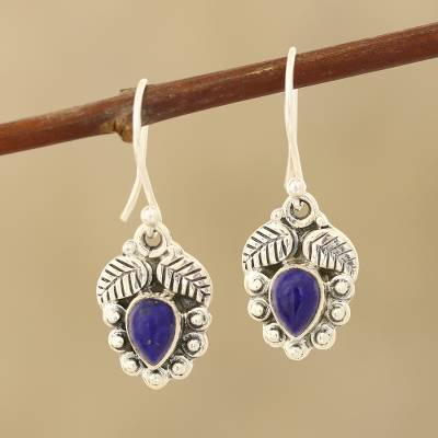 Lapis lazuli dangle earrings, Teardrop Leaves