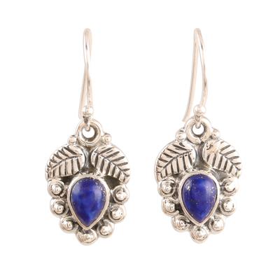 Lapis lazuli dangle earrings, 'Teardrop Leaves' - Leaf-Themed Lapis Lazuli Dangle Earrings from india