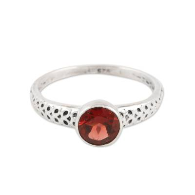 Faceted Garnet Solitaire Ring from India