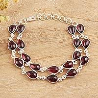 Garnet link bracelet, 'Eternal Nature' - Drop-Shaped Garnet Link Bracelet from India