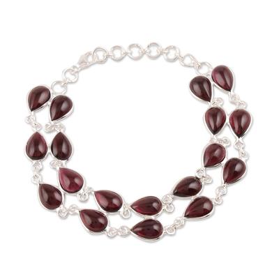 Garnet link bracelet, 'Eternal Nature' - Drop-Shaped Garnet Link Bracelet from India