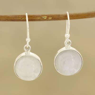 Rainbow moonstone dangle earrings, 'Rainbow Domes' - Round Rainbow Moonstone Dangle Earrings from India