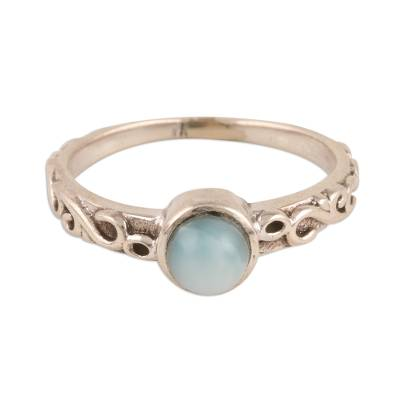 Wave Pattern Larimar Solitaire Ring from India