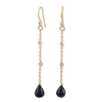 Gold Plated Onyx and Labradorite Dangle Earrings from India