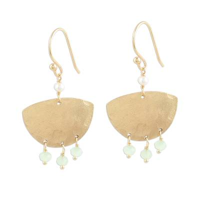 Gold Plated Chalcedony and Cultured Pearl Dangle Earrings
