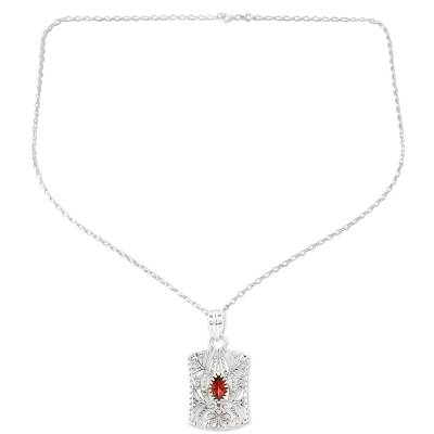 Openwork Pattern Garnet Pendant Necklace from India