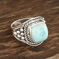 Larimar cocktail ring, 'Limitless Beauty' - Sky Blue Larimar Cocktail Ring from India
