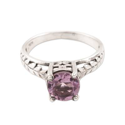 Faceted Amethyst Solitaire Ring Crafted in India