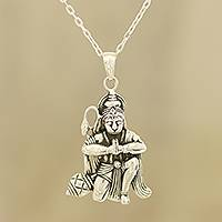 Sterling silver pendant necklace, 'Divine Hanuman' - Sterling Silver Hinduism Pendant Necklace from India